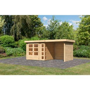 Woodfeeling Gartenhaus Kerko 3 mit Anbaudach ca. 2,40 m breit und 19 mm Seiten-/ Rückwand, naturbelassen - Bild 1