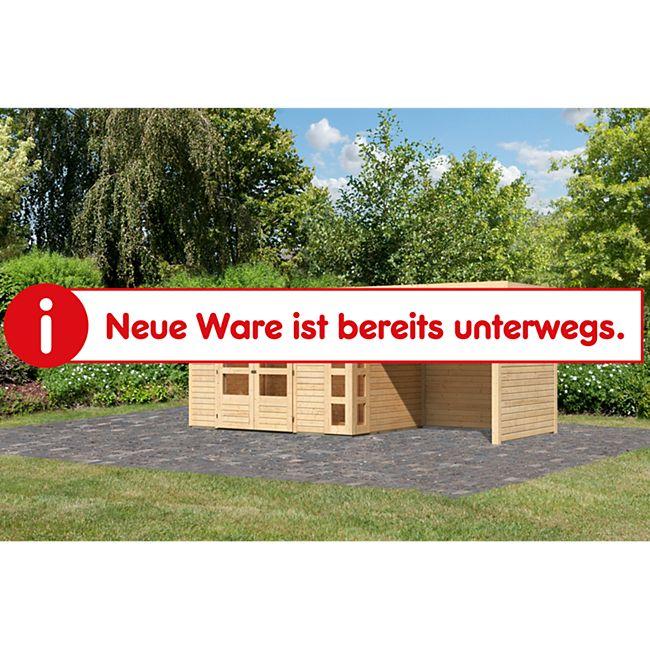 Woodfeeling Gartenhaus Kerko 4 mit Anbaudach ca. 2,40 m breit und 19 mm Seiten-/ Rückwand, naturbelassen - Bild 1