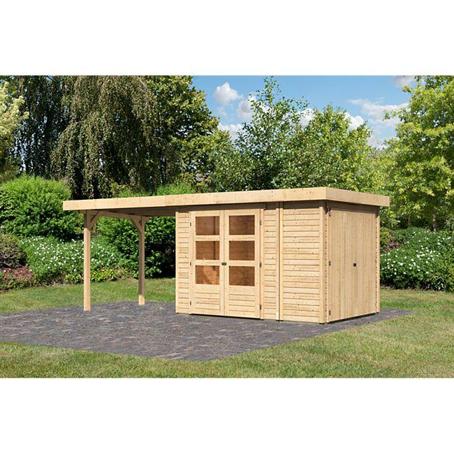 Woodfeeling Gartenhaus Retola 2 mit Anbaudach 2,80 m breit,  inkl. Anbauschrank naturbelassen - Bild 1
