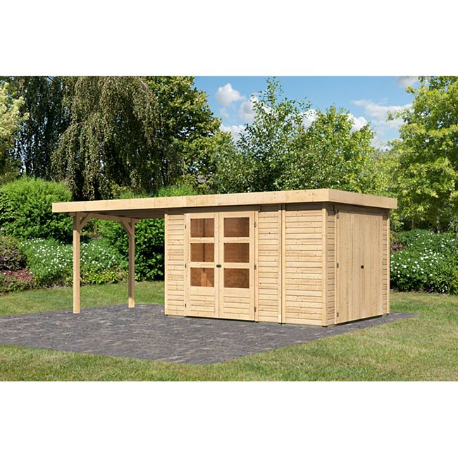 Woodfeeling Gartenhaus Retola 4 mit Anbaudach 2,80 m breit,  inkl. Anbauschrank naturbelassen - Bild 1