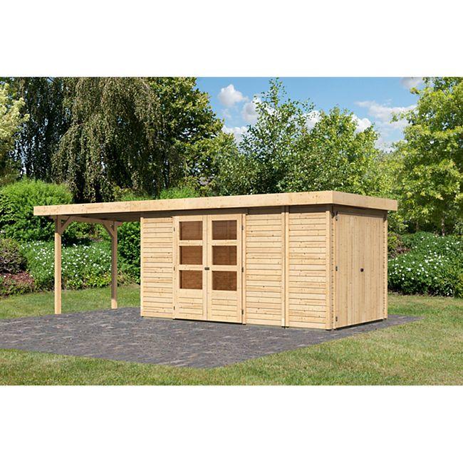 Woodfeeling Gartenhaus Retola 5 mit Anbaudach 2,80 m breit,  inkl. Anbauschrank naturbelassen - Bild 1