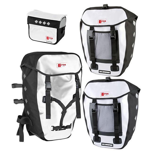 Fox Line Lenkertasche & Hecktaschen & Rucksack-Set weiß/schwarz bestehend aus 1 x Fronttasche + 2 x Hecktasche + 1 x Rucksack, wasserdicht - Bild 1