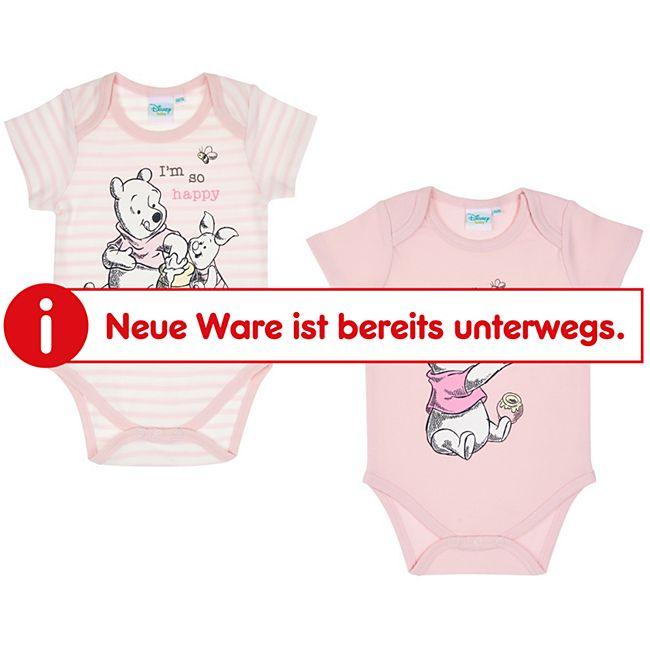 Baby Body 2er Set Mädchen: offwhite/ rosa gestreift/rosa Gr. 62/68 - Bild 1