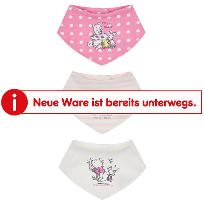 Baby Lätzchen 3er Set Mädchen: rosa/offwhite rosa gestreift/ weiß Gr. 62/68 - Bild 1