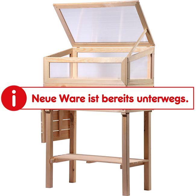 Dobar erhöhtes Frühbeet mit Tisch & Haken Gr. M, transparent, Kiefer - Bild 1