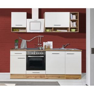 Respekta Küchenzeile BEKB220EWC 220 cm Weiß-Wildeiche Nachbildung - Bild 1