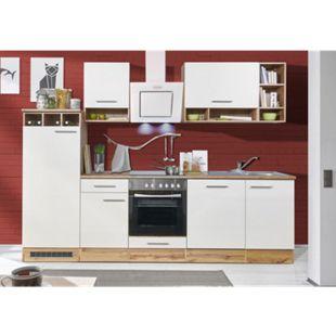 Respekta Küchenzeile BEKB280EWC 280 cm Weiß-Wildeiche Nachbildung - Bild 1