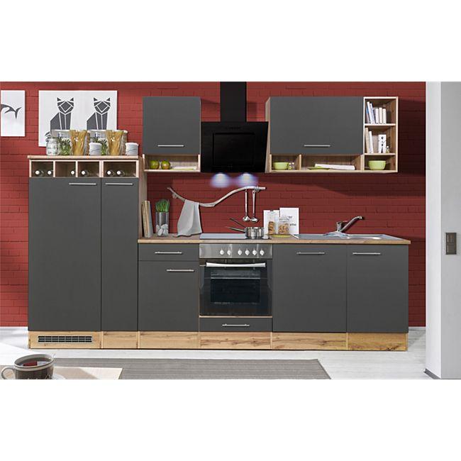 Respekta Küchenzeile BEKB310EGC 310 cm Grau-Wildeiche Nachbildung - Bild 1