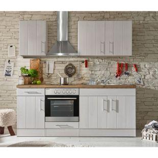 Respekta Premium Küchenzeile BERP210LHWC 210 cm Weiß-Lärche Nachbildung - Bild 1