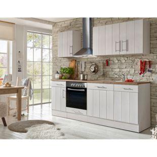 Respekta Premium Küchenzeile BERP220LHWC 220 cm Weiß-Lärche Nachbildung - Bild 1