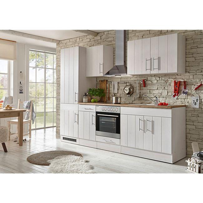 Respekta Premium Küchenzeile BERP270LHWC 270 cm Weiß-Lärche Nachbildung - Bild 1