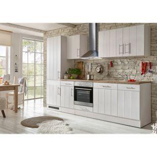 Respekta Premium Küchenzeile BERP280LHWC 280 cm Weiß-Lärche Nachbildung - Bild 1