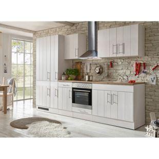 Respekta Premium Küchenzeile BERP300LHWC 300 cm Weiß-Lärche Nachbildung - Bild 1
