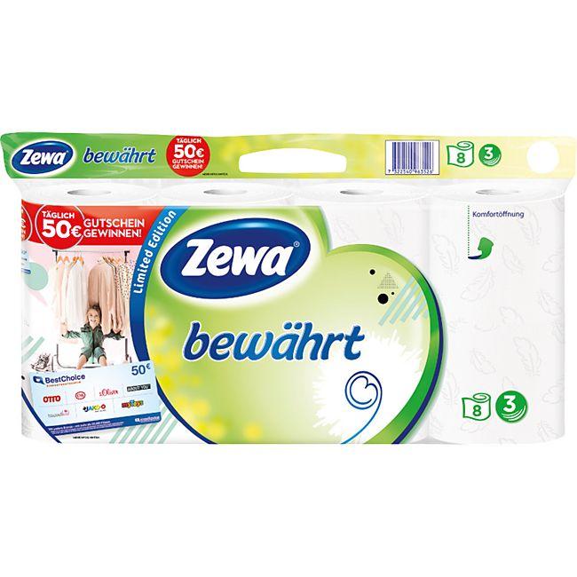 "Zewa Toilettenpapier ""bewährt"" strapazierfähiges WC-Papier 3-lagig 8 Rollen - Bild 1"