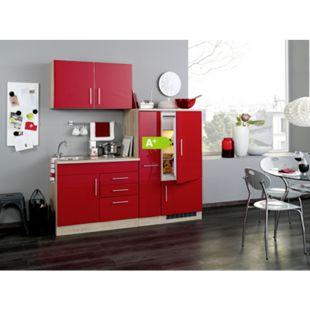 HELD Möbel Single-Küche Dallas 190 cm - Melamin Eiche-Sonoma Nachb./ Hochglanz Rot - Bild 1
