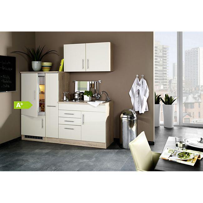 HELD Möbel Single-Küche Dallas 190 cm - Melamin Eiche-Sonoma Nachb./ Hochglanz Creme - Bild 1