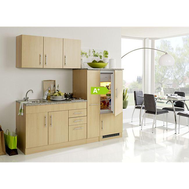 HELD Möbel Single-Küche Dallas 210 cm - Melamin Buche Nachbildung - Bild 1