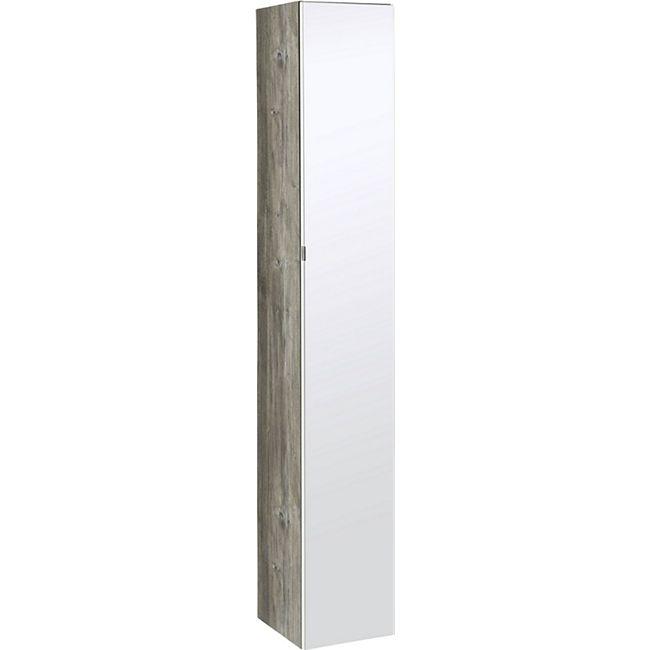 HELD Möbel Capri Seitenschrank mit Spiegel 30 cm - Eiche vintage Nachbildung / Weiß - Bild 1