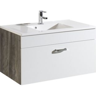HELD Möbel Capri Waschtisch 100 cm - Eiche vintage Nachbildung / Weiß - Bild 1