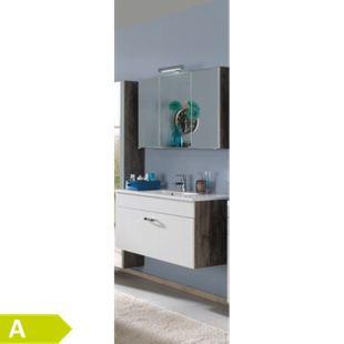 HELD Möbel Capri Waschtisch-Set 80 cm - Eiche vintage Nachbildung / Weiß - Bild 1