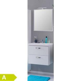 HELD Möbel Montreal Waschtisch-Set mit Spiegelpaneel 80 cm - Melamin Weiß - Bild 1