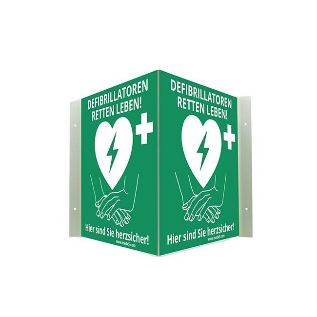 MEDX5 Defibrillator AED-Standort-Winkelschild, nachleuchtend, 20 cm x 20 cm - Bild 1