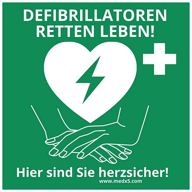 MEDX5 Defibrillator AED-Standortaufkleber, 20 cm x 20 cm - Bild 1