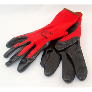 "MAUK (12 Paar) Handschuhe Polyester Rot 13g, schwarz Nitril beschichtet 45g Größe 9"" - Bild 1"