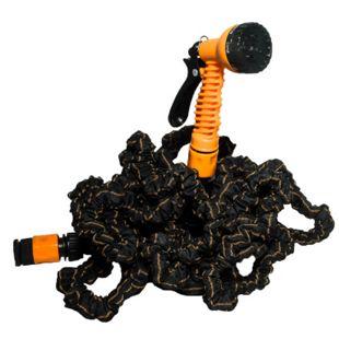 EASYmaxx Gartenschlauch flexibel 15m schwarz/orange mit Multi-Gartenbrause - Bild 1