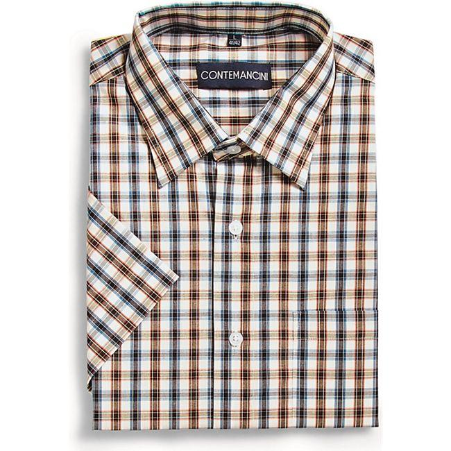 Herren Kurzarmhemd - Orange/Blau, Gr. 45/46 - Bild 1