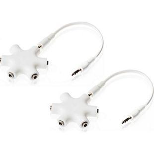 Poppstar 2x 5-Port Audiosplitter mit Klinkenkabel (3,5 mm Klinke), weiß - Bild 1