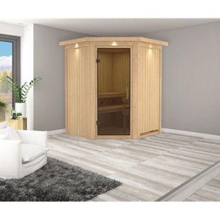 Karibu Eck-Systemsauna Valida 1 mit Kranz & graphitfarbener Ganzglastür, inkl. Sauna-Zubehör-Set PLUS - Bild 1