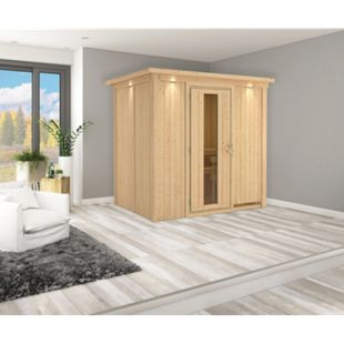 Karibu Systemsauna Valida 2 mit Kranz & Energiespartür, inkl. Sauna-Zubehör-Set PLUS - Bild 1