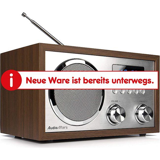 AudioAffairs DAB+Digitales Nostalgie-Radio, UKW-Retroradio mit Bluetooth, 2 Alarmzeiten mit Radiowecker, Aux-in, Kopfhörereingang - Bild 1