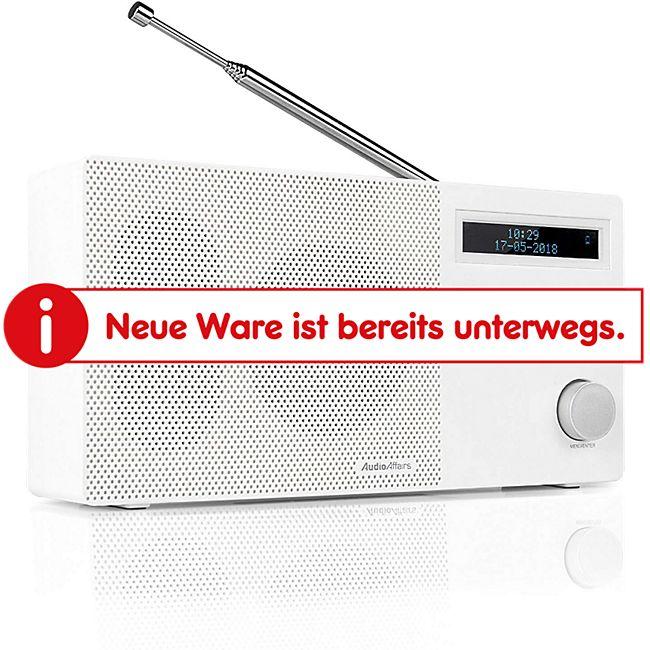 AudioAffairs DAB+ Digital Radio (Bluetooth Lautsprecher und Akku, FM/UKW mit LCD Display und SD-Kartenslot, tragbares Design mit Aux in & Out), weiß - Bild 1