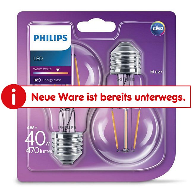 PHILIPS LED Leuchtmittel - Filament Birne 40W A60 E27, 2er Pack - Bild 1