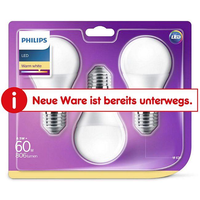 PHILIPS LED Leuchtmittel - Birne 60W A60 E27 - 3er Pack - Bild 1