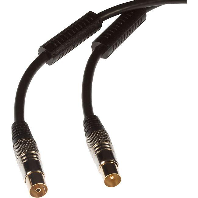 Poppstar 1x Antennenkabel, Stecker gerade (m/w), vergoldete Kontakte, 2m - Bild 1