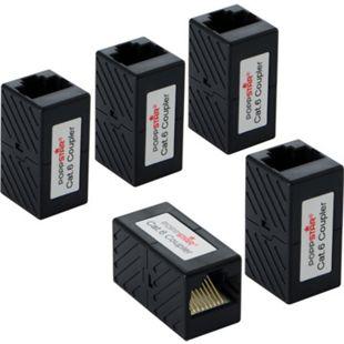 Poppstar 5x Patchkabel Kupplung RJ45 (2x RJ45 Buchse), zum verbinden von Netzwerkkabeln, schwarz - Bild 1