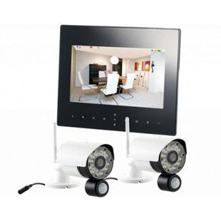 VisorTech DSC-720.mc Funk Überwachungs-Set mit 2 schwarz-weißen HD-IP-Kameras + Monitor - Bild 1