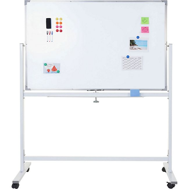Whiteboard MCW-C85, Magnettafel Memoboard Pinnwand, mobil rollbar inkl. Zubehör ~ 150x100cm - Bild 1