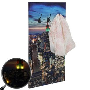 Foto-Wandgarderobe MCW-C75, Garderobe LED-Wandbild, 6 Haken 40x80cm, New York - Bild 1
