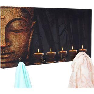 Foto-Wandgarderobe MCW-C75, Garderobe Wandbild, 4 Haken 60x30cm ~ Buddha - Bild 1