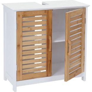 Waschbeckenunterschrank MCW-B41, Badschrank mit Staufach, Bambus, weiß 60x60x30cm - Bild 1