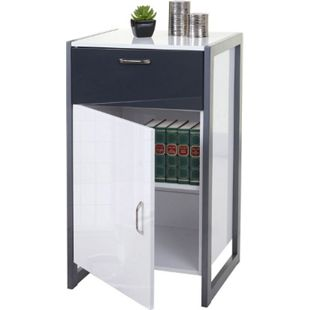 Kommode MCW-B27, Schubladenschrank, Hochglanz 90x50x40cm, weiß/grau - Bild 1