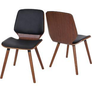 2x Esszimmerstuhl MCW-B16, Holz Bugholz Retro-Design Walnussoptik ~ Kunstleder schwarz - Bild 1