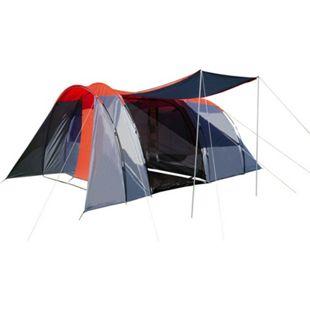Campingzelt MCW-A99, 6-Mann Zelt Kuppelzelt Festival-Zelt, 6 Personen ~ rot/grau - Bild 1