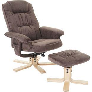 Relaxsessel H56, Fernsehsessel TV-Sessel mit Hocker, Stoff/Textil ~ Wildlederimitat - Bild 1