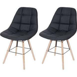 2x Esszimmerstuhl MCW-A60 II, Stuhl Küchenstuhl, Retro 50er Jahre Design ~ Kunstleder schwarz - Bild 1