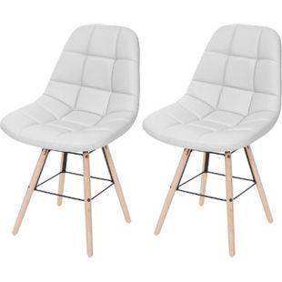 2x Esszimmerstuhl MCW-A60 II, Stuhl Küchenstuhl, Retro 50er Jahre Design ~ Kunstleder weiß - Bild 1